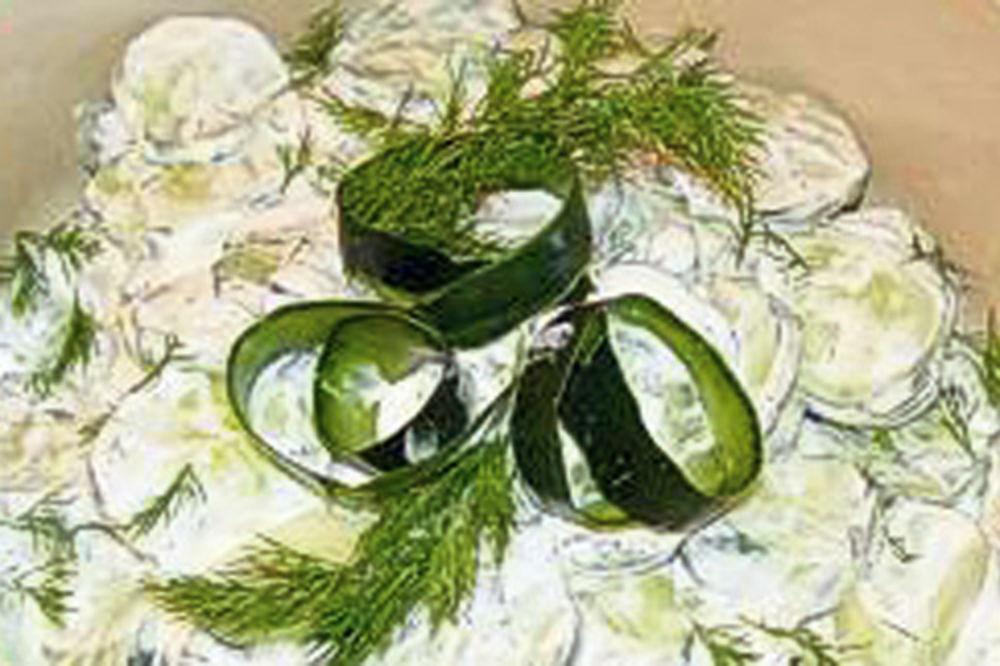 Bela salata od krastavaca, Krastavac, recept, salata,