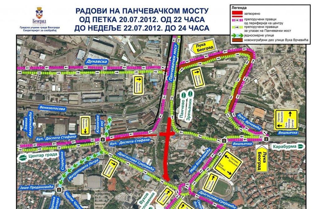 Bulevar despota Stefana, zatvaranje, Pančevački most, pristupna rampa, izgradnja