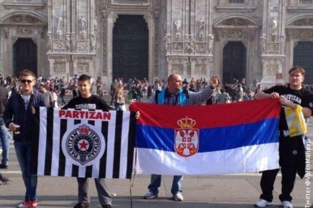 Grobari okupirali Trg u Milanu