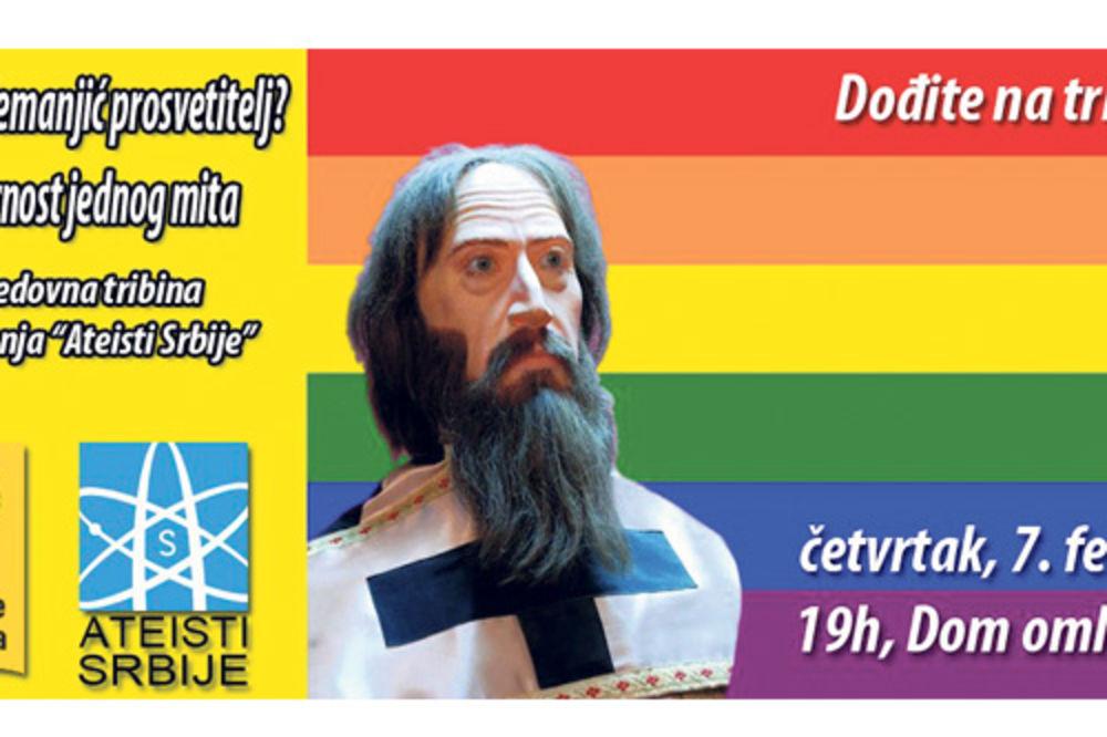 Sveti Sava, udruženje Ateisti Srbije, gej zastava