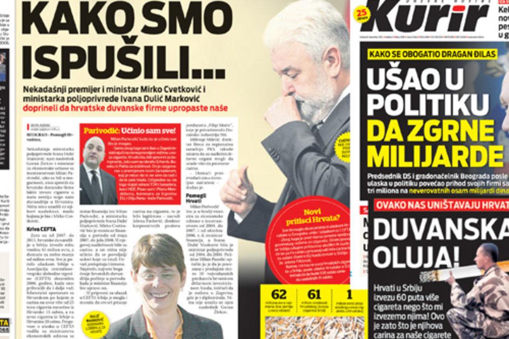 Kurir, 11.12.2012 i Kurir, 8.12.2012