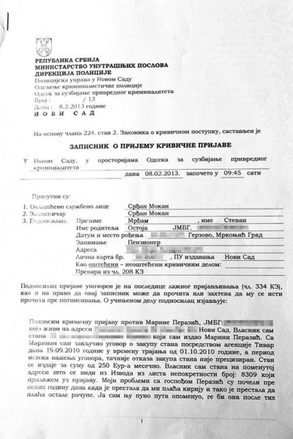Krivična prijava protiv Marine Perazić