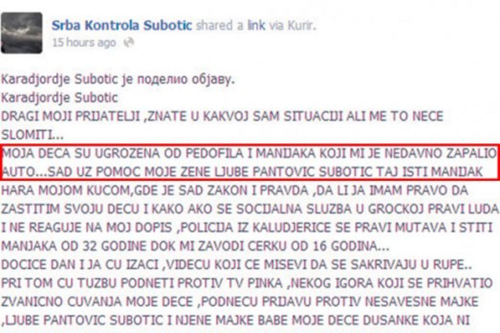 Očeva poruka na Fejsbuku...Karađorđe upozorava