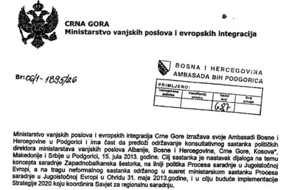 Depeša MIP-a Crne Gore Ambasadi BiH u Podgorici (Foto: Respekt)