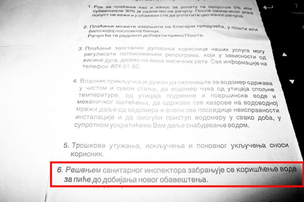 SRAMOTA U MLADENOVCU: Uz račun im rekli da voda nije za piće!
