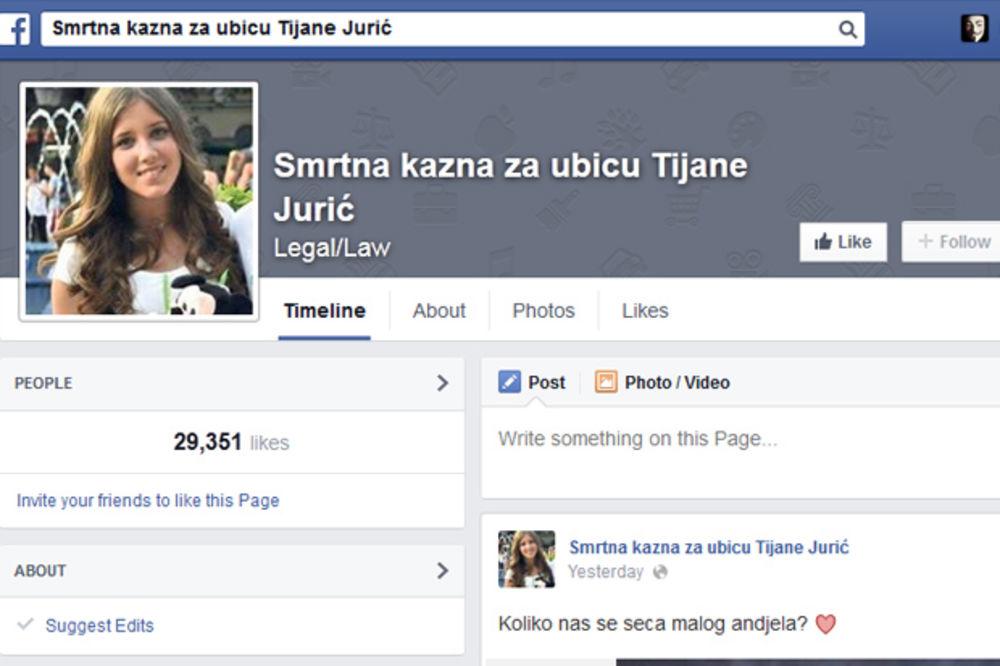 """SRAMOTA: Na prodaju Fejsbuk stranica """"Smrtna kazna za ubicu Tijane Jurić"""""""