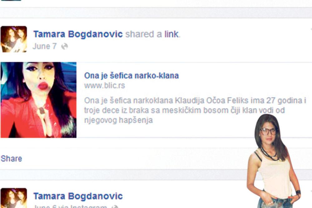 SRAMOTA: Tamara Bogdanović na Fejsbuku šerovala tekst o narko-kraljici