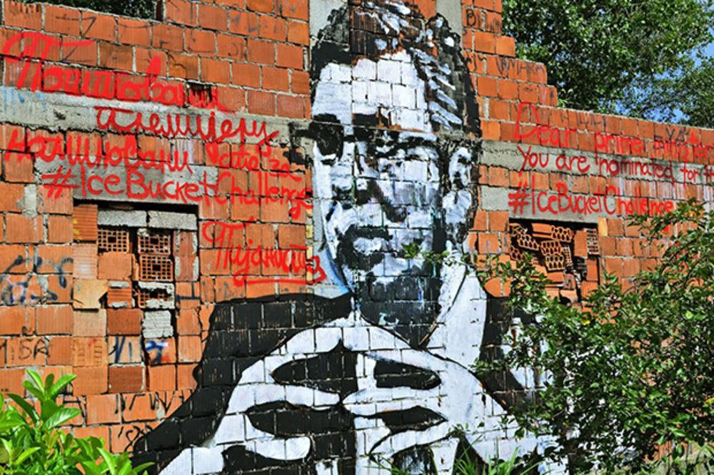 (FOTO) Umesto polivanja nacrtao mural Vučića i pozvao ga na ledeni izazov!