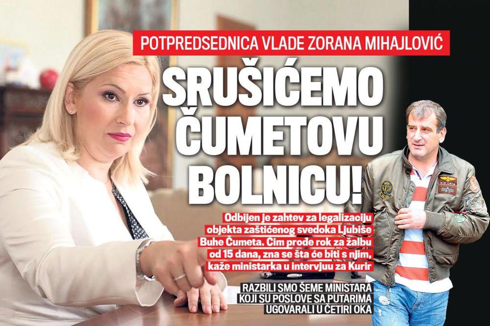 DANAS U KURIRU Zorana Mihajlović: Srušićemo Čumetovu bolnicu!