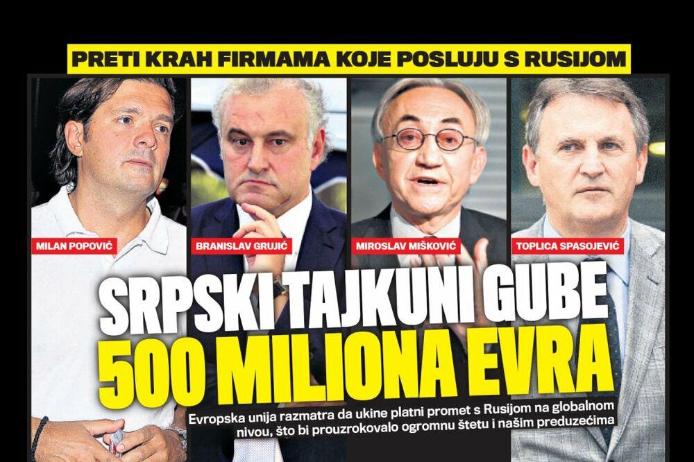 DANAS U KURIRU PRETI IM KRAH: Srpski tajkuni gube 500 miliona evra