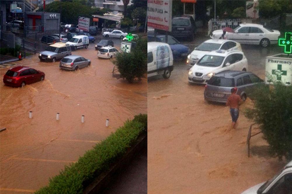 BUDVA POD VODOM: Pogledajte poplavljene ulice posle jake kiše!