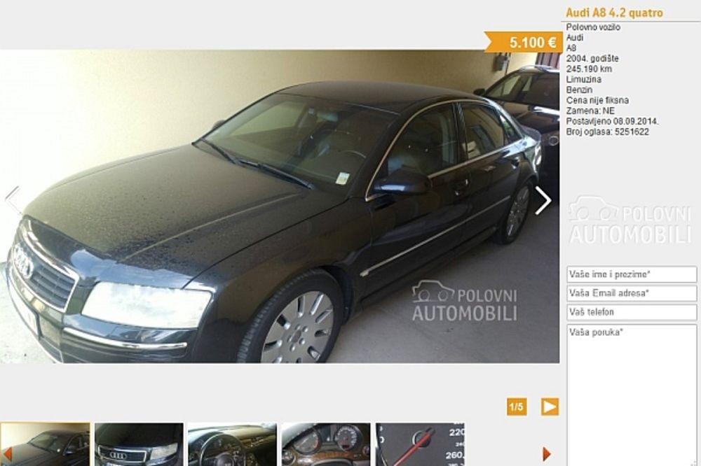 AUDI A8 ZA 5.100 EVRA: Karlovački službeni auto prodaju daleko ispod cene!