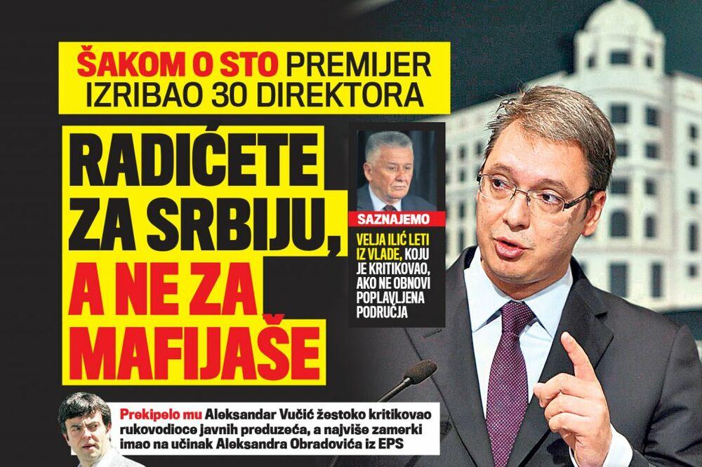 DANAS U KURIRU VUČIĆ IZRIBAO DIREKTORE: Radićete za Srbiju, a ne za mafijaše!