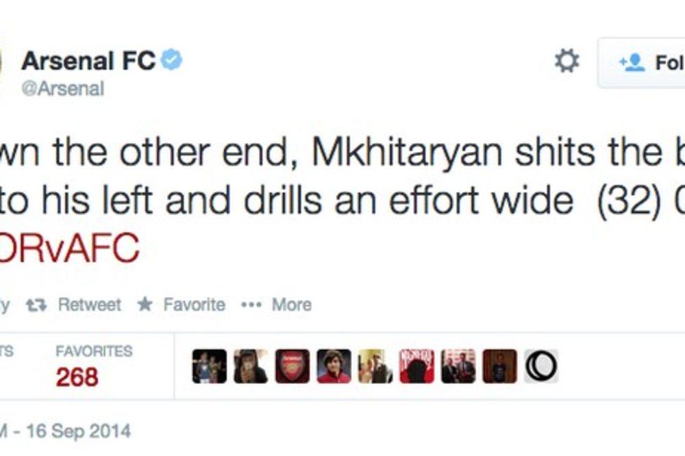 URNEBESNO: Arsenal na Tviteru promašio jedno slovo i ispao smešan, pa i nepristojan