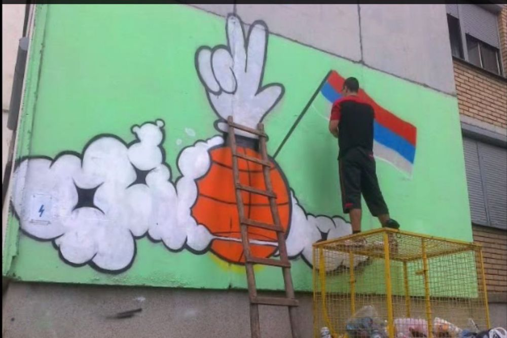 (VIDEO) SREBRO KAO POVOD: U Pirotu grafit posvećen košarkašima Srbije