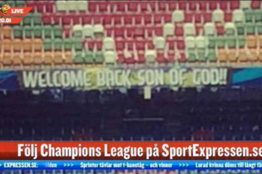 DOBRODOŠLICA BOŽIJEM SINU: Pogledajte poruku navijača Ajaksa Zlatanu Ibrahimoviću