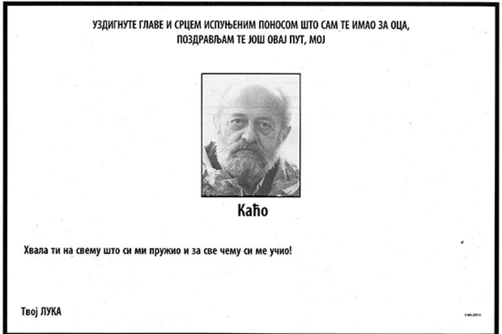 Luka Bojović dao čitulju: Pozdravljam te još ovaj put, moj Kaćo!