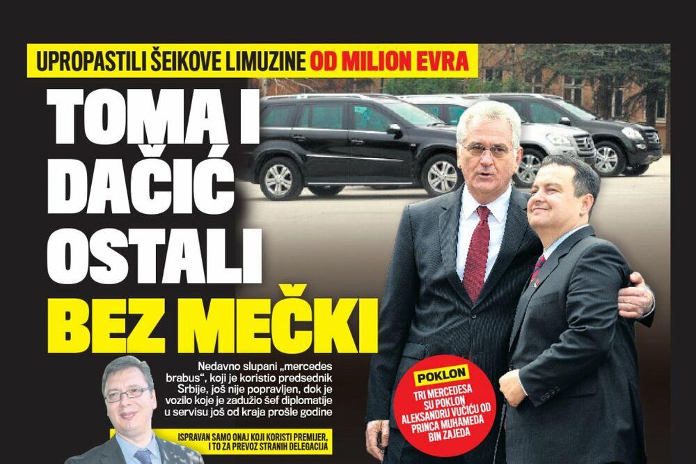 DANAS U KURIRU HAVARIJA: Nikolić i Dačić ostali bez šeikovih mercedesa