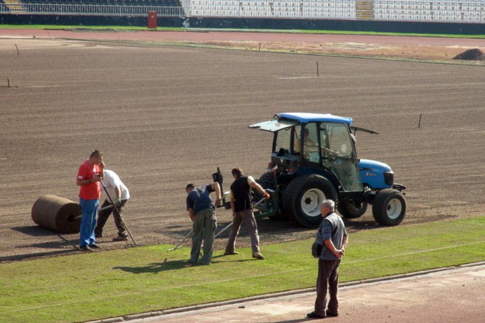 (FOTO) NOVA TRAVA ZA ROĐENDAN: Fudbaleri Partizana na obnovljenom terenu od 4. oktobra