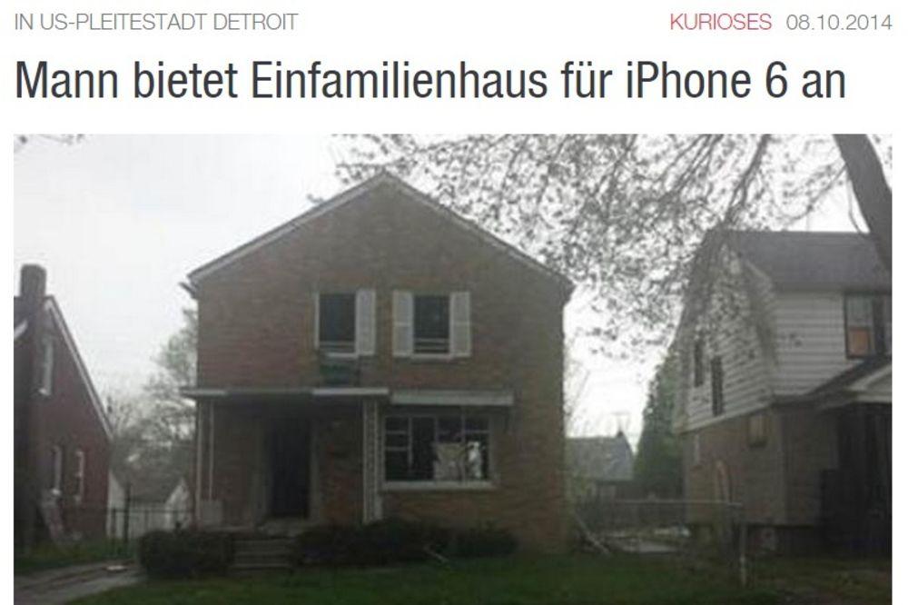 NIJE ŠALA: Austrijanac menja kuću za ajfon 6!