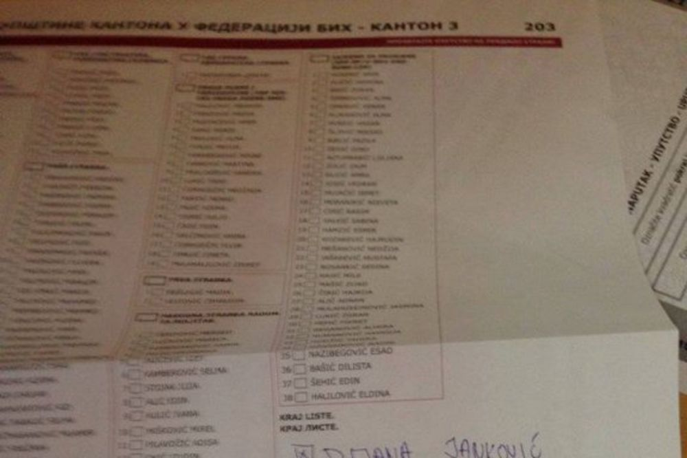 Glasački listić foto Facebook