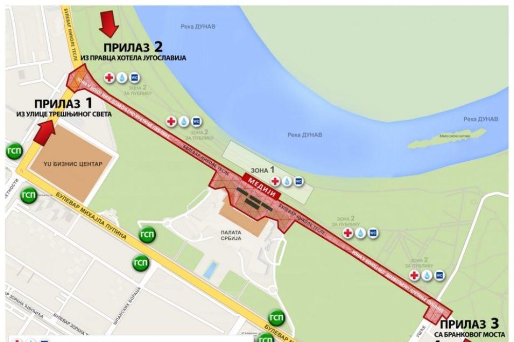 palata srbije mapa MAPA) Ovim putem možete doći na vojnu paradu! | Vesti | Kurir palata srbije mapa