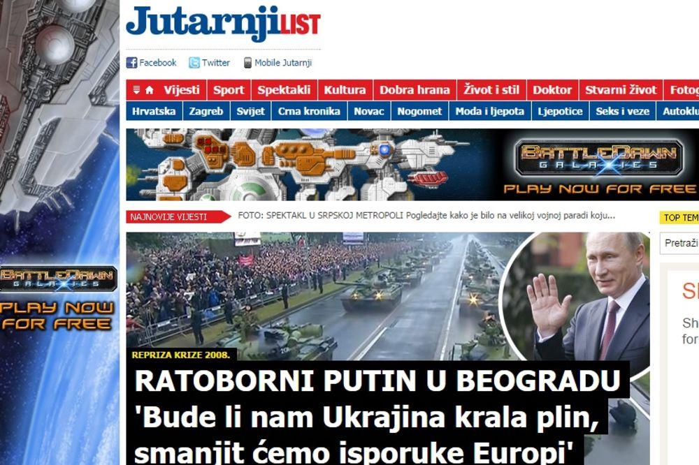 HRVATSKI MEDIJI O PARADI: Ratoborni Putin pretio Evropi u Beogradu!