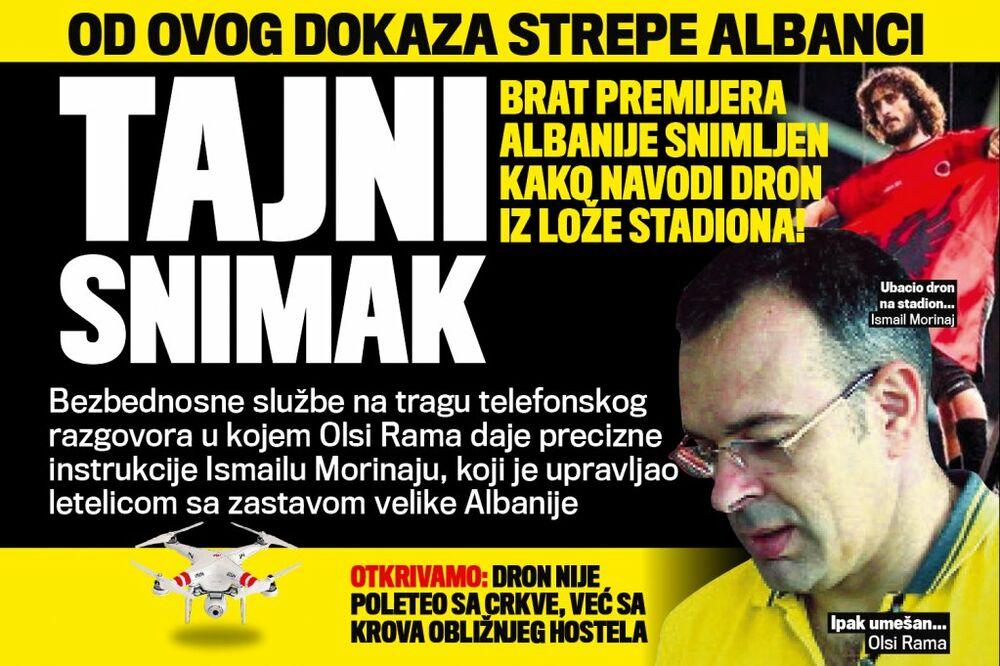 DANAS U KURIRU TAJNI SNIMAK: Olsi Rama snimljen kako navodi dron iz lože stadiona!
