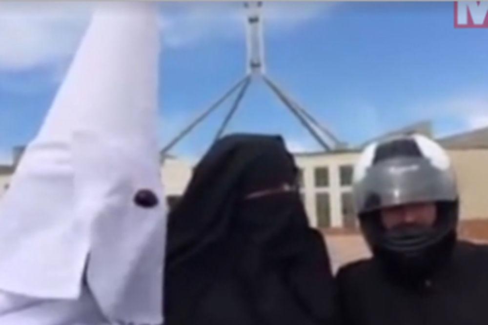 (VIDEO) OVO JE PROTEST: Kad mogu muslimanke s velom, možemo i mi Kju Kluks Klanovci