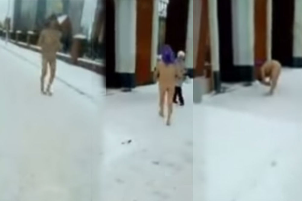 (VIDEO) BEŽALA OD DEMONA: Ruskinja naga po snegu donela bebu u crkvu!