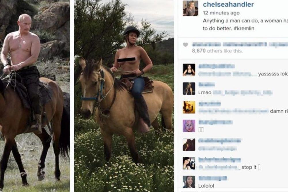 INSTAGRAM JE CENZURISAO: Američka komičarka objavila svoju i Putinovu sliku na konju!