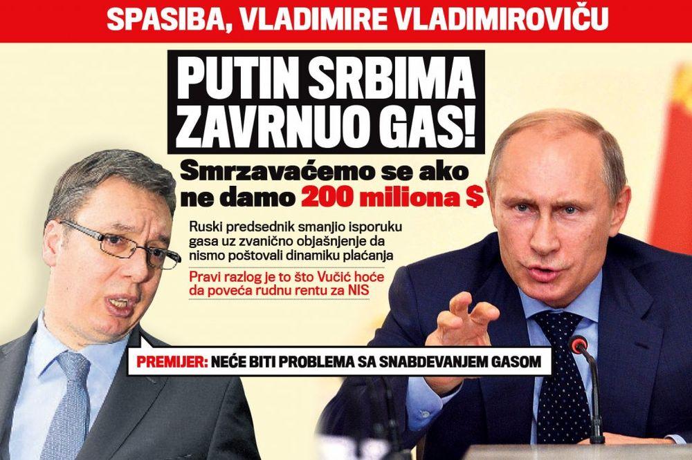 DANAS U KURIRU PUTIN SRBIMA ZAVRNUO GAS: Smrzavaćemo se ako ne damo 200 miliona dolara!