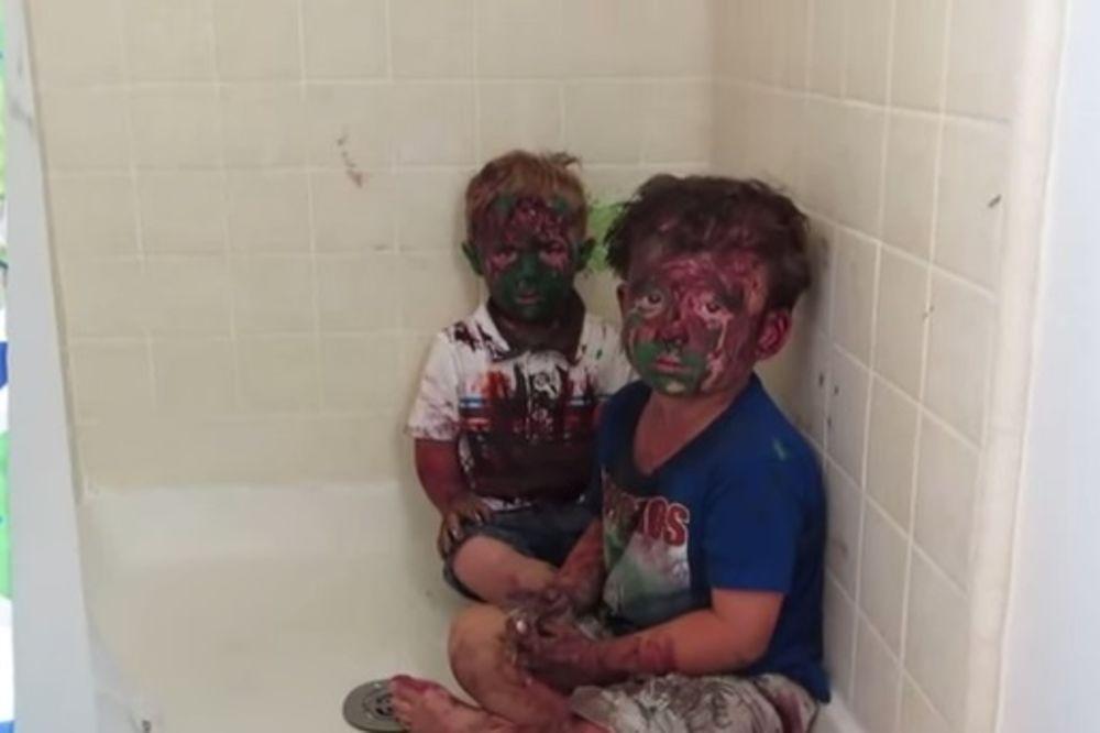 (VIDEO) Braća se umazala bojama i u velikoj su nevolji. Ovakvu kaznu niko nije očekivao...