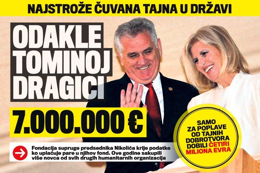 DANAS U KURIRU NAJSTROŽA DRŽAVNA TAJNA: Odakle Tominoj Dragici 7.000.000 evra