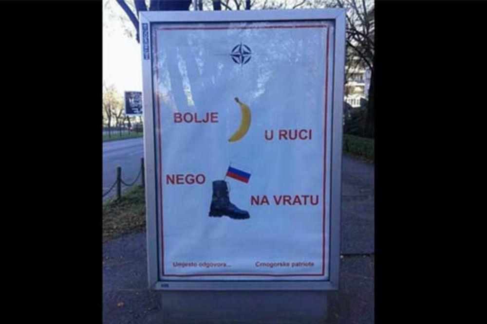 NALJUTILI MOSKVU: Protest Podgorici zbog bilborda Bolje banana u ruci, nego ruska čizma na vratu