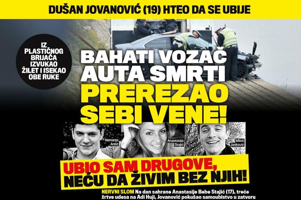 VOZAČ BMW SMRTI PREREZAO VENE: Ubio sam drugove, neću da živim bez njih!