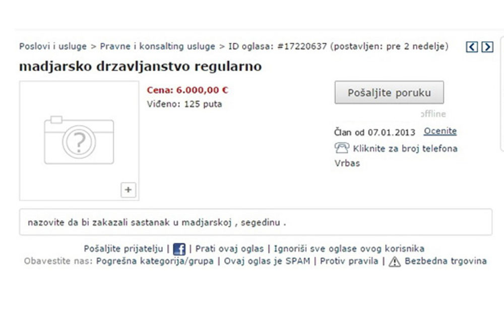 DO PASOŠA PREKO OGLASA: Mađarsko državljanstvo za 6.000 evra