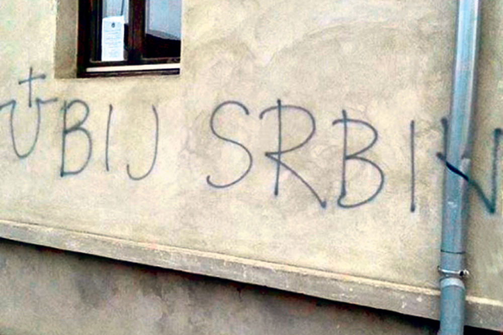 SRAMOTNO: Ustaški grafiti na pravoslavnoj crkvi
