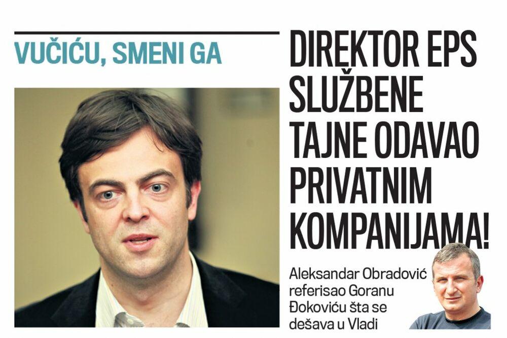 DANAS U KURIRU KRTICA: Direktor EPS službene tajne odavao privatnim kompanijama!