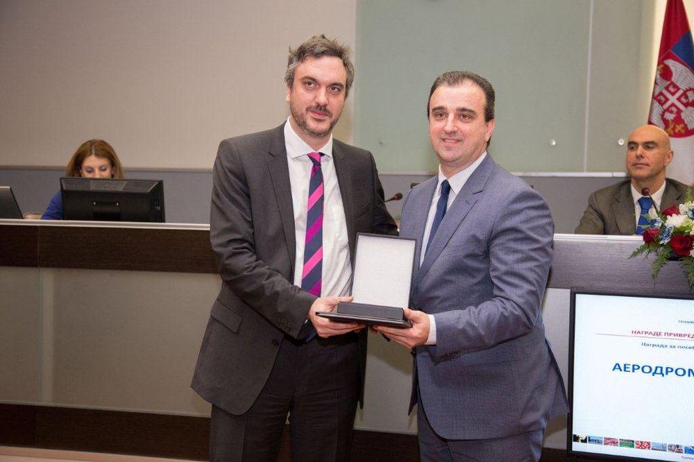 Aerodromu Nikola Tesla nagrada Privredne komore Srbije