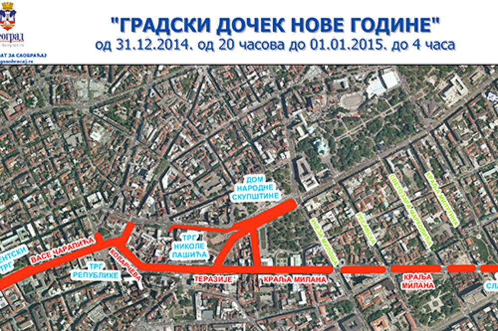 DOČEK NOVE GODINE: Ove ulice će biti zatvorene za saobraćaj