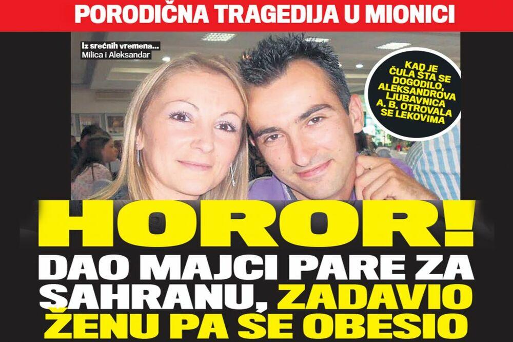 DANAS U KURIRU UŽAS U MIONICI: Dao majci pare za sahranu, zadavio ženu pa se obesio!