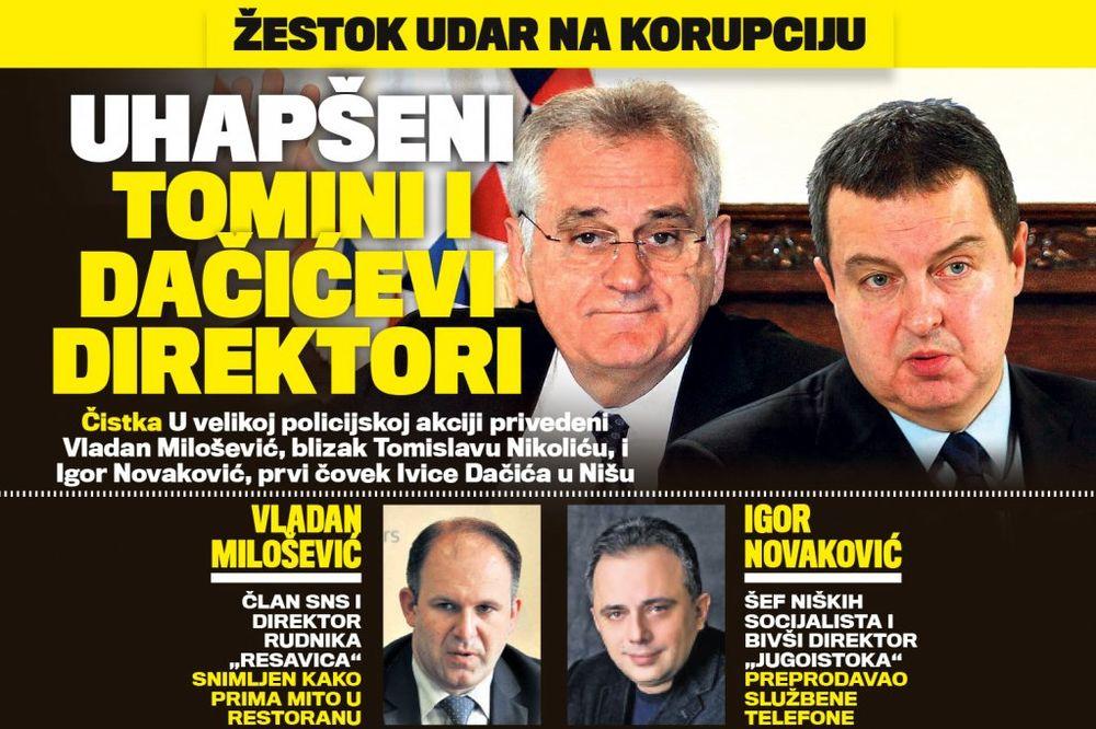 DANAS U KURIRU ČISTKA: Uhapšeni Nikolićevi i Dačićevi direktori!