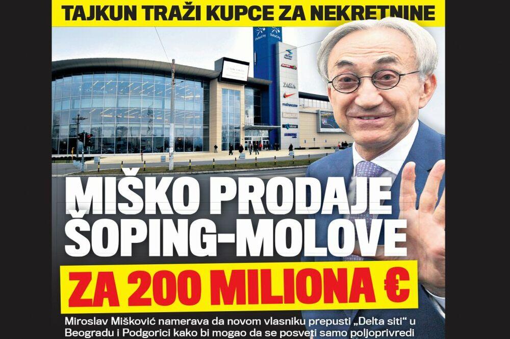 DANAS U KURIRU DELTA SITI MENJA VLASNIKA: Mišković prodaje šoping-molove za 200 miliona evra!