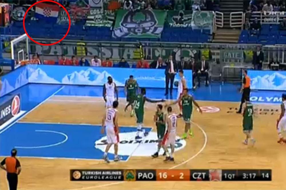 Navijači Panatinaikosa šahovnicom provocirali košarkaše Zvezde