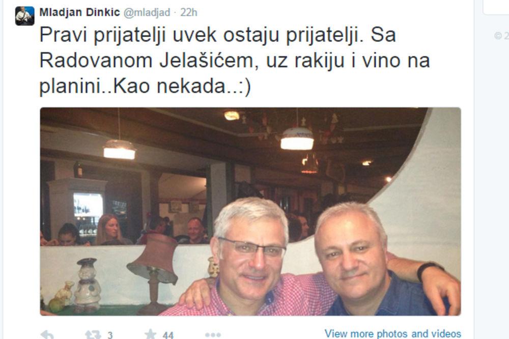 KAO NEKAD: Dinkić na Kopaoniku cirkao rakiju s Jelašićem