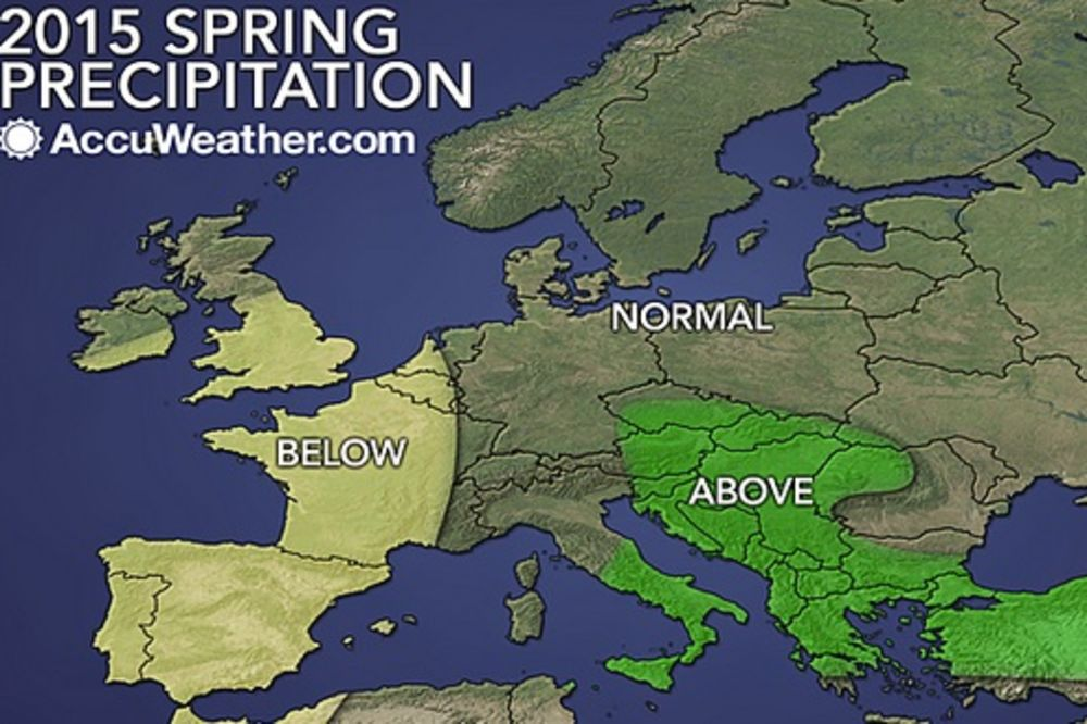 Očekivane padavine, foto: Printscreen AccuWeather