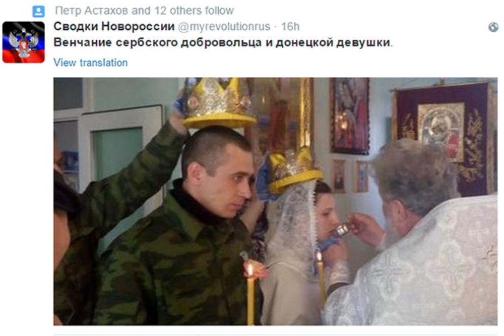 "(FOTO) ROMANSA U DONJECKU: Oženio se srpski ""pas rata"""