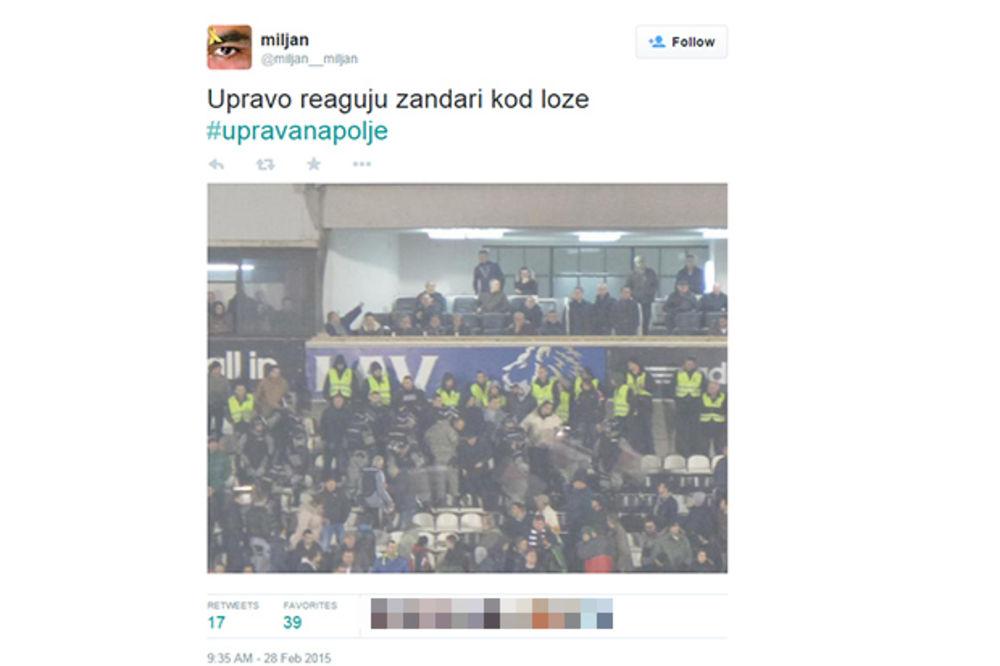 ŽANDARMERIJA SPASAVALA ČELNIKE PARTIZANA: Navijači crno-belih hteli da se obračunaju sa upravom!