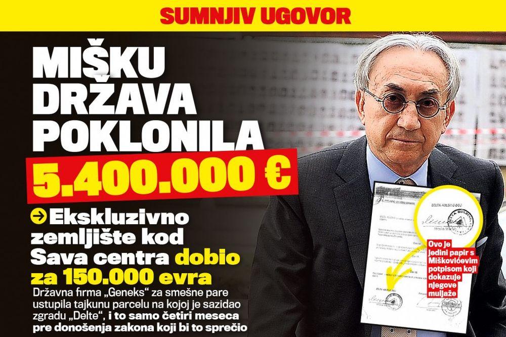 DANAS U KURIRU SUMNJIV UGOVOR: Miškoviću država poklonila 5.400.000 evra!
